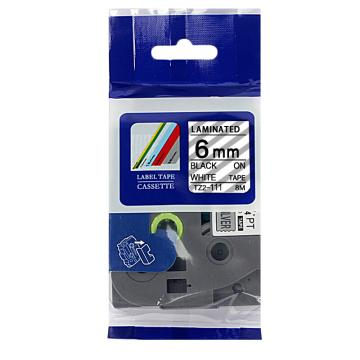 普贴 标签色带,透明底黑字TZ2-111宽度6mm 适用于兄弟TZ系列标签机 单位:卷