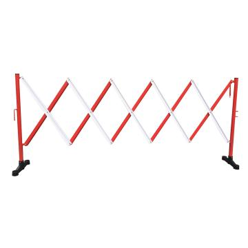 迈邦 伸缩隔离栏 铁边柱铝网格 高950mm长度范围290-3500mm B2A 不带滚轮,红/白
