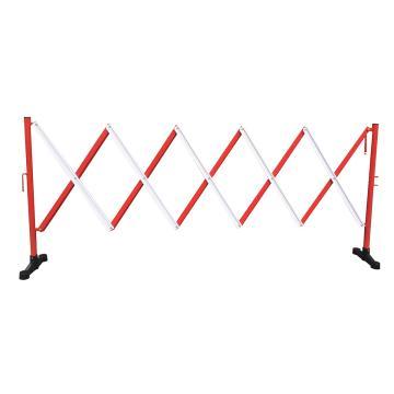 迈邦 伸缩隔离栏 铁边柱铝网格 高950mm长度范围290-3500mm B2A 自带滚轮,红/白