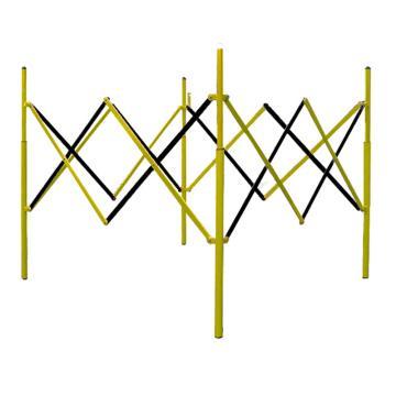 迈邦 伸缩围护隔离栏 全铁材质 收缩W150×H1150mm 展开W1300×W1300×H850mm B4R,黄/黑