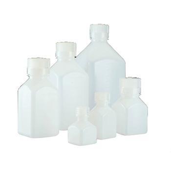 NALGENE方形瓶,高密度聚乙烯;聚丙烯螺旋盖,125ml容量