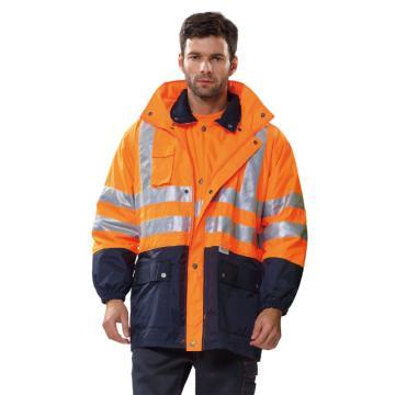 安大叔B008高密度防水涂层牛津布防寒服,橙拼蓝,尺码:S