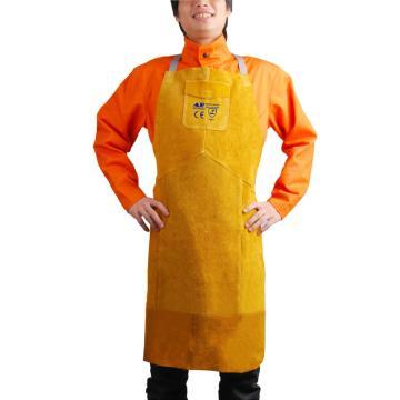 友盟 金黄色全皮护胸吊带围裙,尺码:L