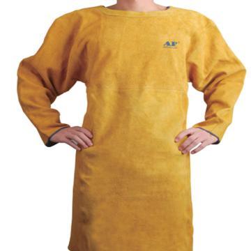 友盟 焊接围裙,AP-6200-L,金黄色全皮长袖反穿围裙