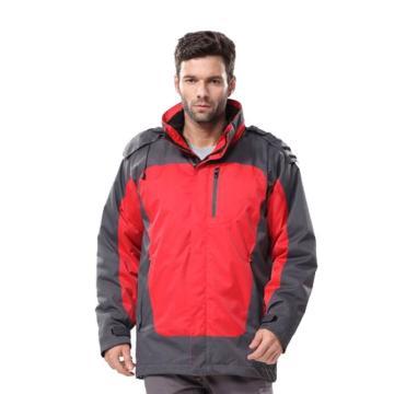 安大叔B300高级防水提花涂层布防寒服,红拼灰,尺码:L