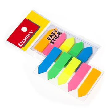 齐心 荧光膜挂式标签,D7015 44*12mm 5条箭头全色 颜色随机 单位:本(售完为止)