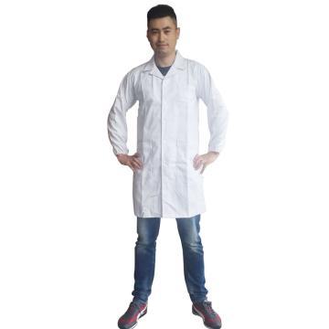 长袖全棉男式大褂,白色,175/XL