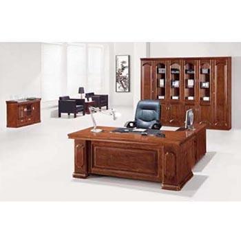 经理室办公桌,胡桃木 1600x860x760 含活动柜侧柜 限安微蚌埠区域