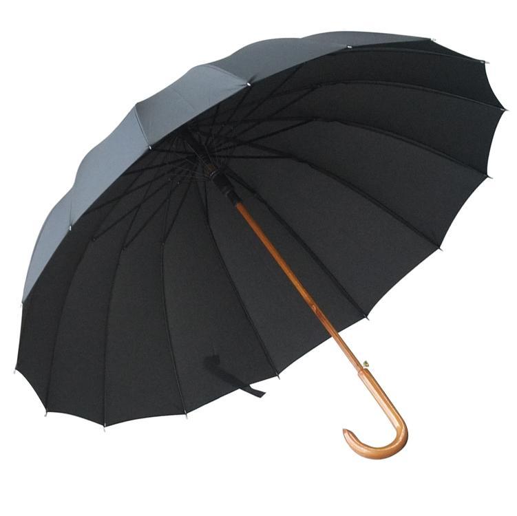 加大16骨木中棒长柄伞,115cm实木弯柄抗风双人伞黑色 单位:把