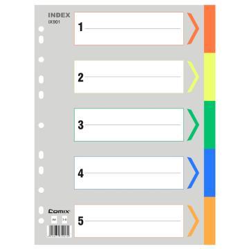 齐心 易分类五色索引纸,IX901 A4 11孔 PP 颜色随机 单位:套