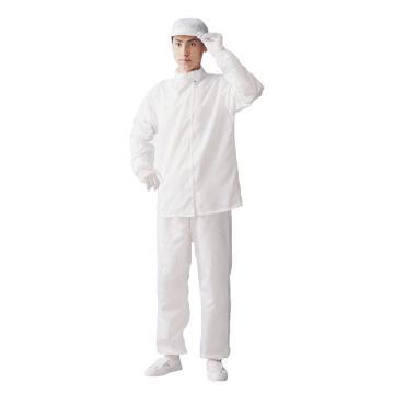 防静电分体服,L 白色 竖条纹黑色防静电丝 单位:件