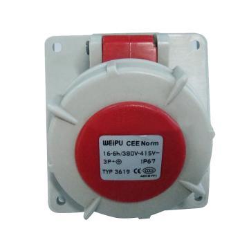 威浦TYP系列暗装斜式工业插座,4P 16A 400V IP67 红色,3619
