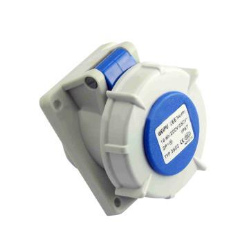 威浦TYP系列暗装斜式工业插座,3P 16A 230V IP67 蓝色,3602