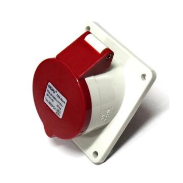 威浦TYP系列暗装斜式工业插座,5P 32A 400V IP44 红色,3823