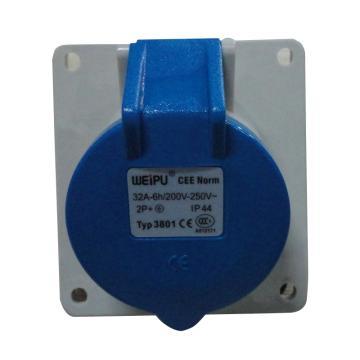 威浦TYP系列暗装斜式工业插座,3P 32A 230V IP44 蓝色,3801