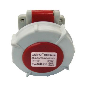 威浦TYP系列暗装直式工业插座,4P 32A 400V IP67 红色,5819