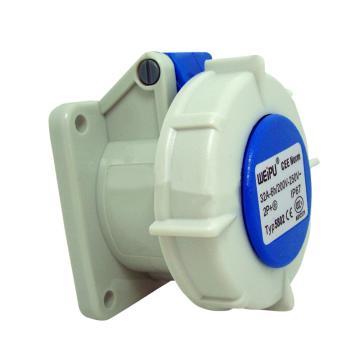 威浦TYP系列暗装直式工业插座,3P 32A 230V IP67 蓝色,5802