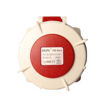 威浦TYP系列暗装直式工业插座,5P 16A 400V IP67 红色,5624