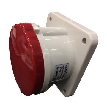 威浦TYP系列暗装直式工业插座,4P 63A 400V IP44 红色,5918