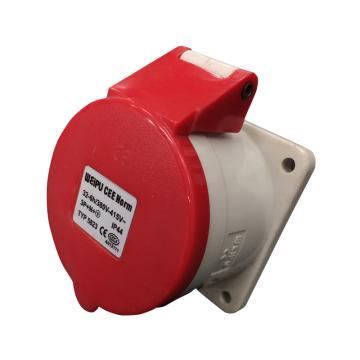 威浦TYP系列暗装直式工业插座,5P 32A 400V IP44 红色,5823