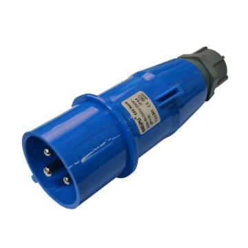 威浦TYP系列工业插头,3P 32A 230V IP44 蓝色,281
