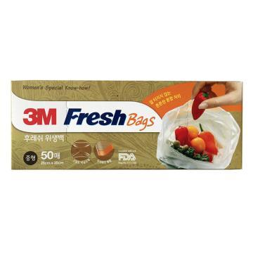 3M食品保鲜袋,大 透明 50个/盒 单位:盒