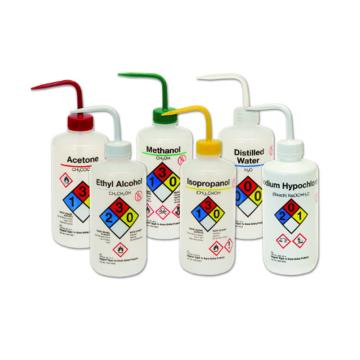NALGENE易认安全洗瓶,LDPE,白色LDPE或PPCO瓶体;PP或HDPE盖;PPCO填充管,1000ml容量,异丙醇,黄色瓶盖