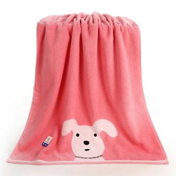 金号纯棉加厚浴巾,340g 140*72cm G3850WH,卡通可爱小狗狗图案浴巾蓬松吸水