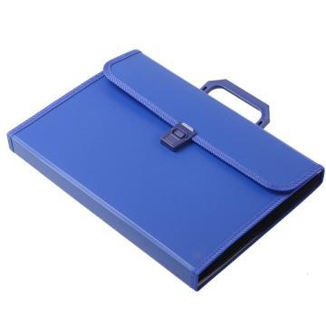 齊心 易分類手提式風琴包,KF412TJ A4 12格 藍 單個
