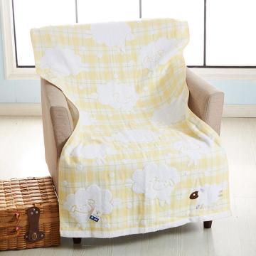 金号纯棉浴巾,335g 140*70cm G3757WH,吸水双层无捻纱布喜羊羊可爱卡通浴巾
