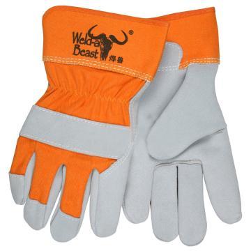 焊兽 半皮手套,11300,牛二层B级颈皮三指粒全掌短皮手套