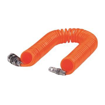 PU螺旋气管,Φ8×Φ5×6M,橙色,带母公快速接头,亚德客0850-6-O