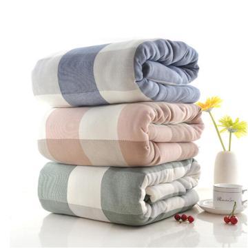 五层纱布毛巾被,全棉单人夏凉被  蓝灰格   1.5*2米