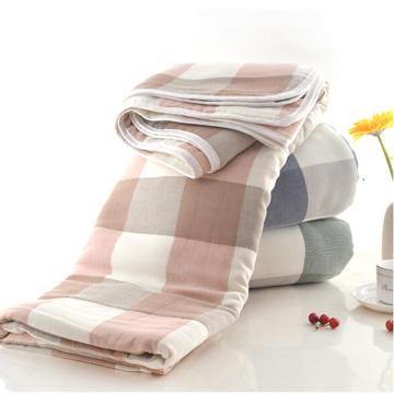 五层纱布毛巾被,全棉单人夏凉被 粉褐格  1.5*2米