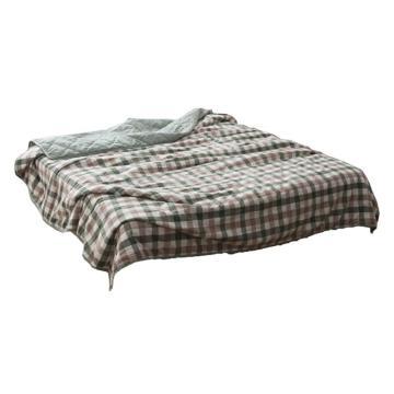 水洗棉夏被日系条纹格子全棉空调被夏凉被薄被,绿中格 1.5*2m  2.6斤左右