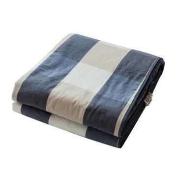 水洗棉夏被日系条纹格子全棉空调被夏凉被薄被  蓝大格 1.5*2m 2.6斤左右
