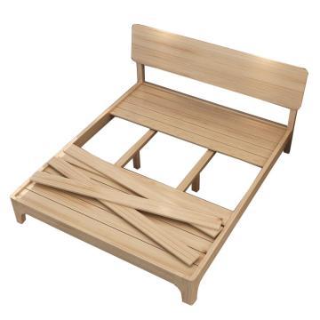 實木床單人床, 清漆松木床+5厘米椰棕床墊 1.2米*2.0米(安裝費另詢)