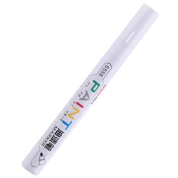 得力记号笔 油性记号笔,S558  白色 单支