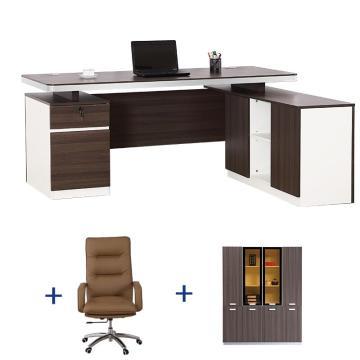 达蕾尔 老板桌办公桌经理桌大班台办公桌椅组合 1.6米办公桌+办公椅+4门柜