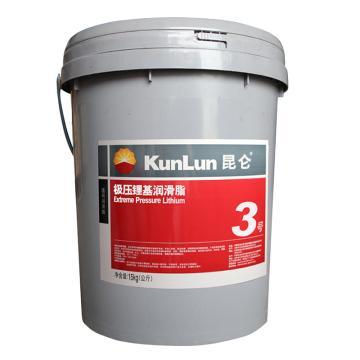 昆侖 潤滑脂,極壓鋰基潤滑脂,3號,15kg/桶