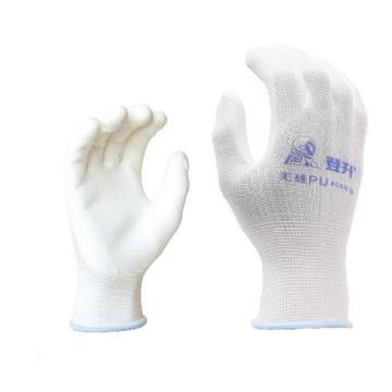 登升669PU涂层手套,白色,尺码:7