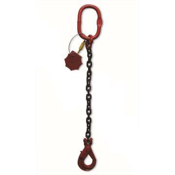 多来劲,80级单腿链条索具,1.12T×1m(总长),羊角带舌吊钩