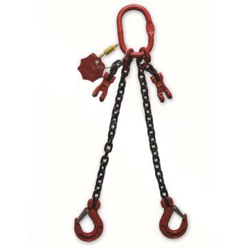 多来劲,80级双腿链条索具,1.6T×1m(总长),羊角带舌吊钩