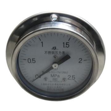 上仪 压力表Y-103B,304不锈钢+304不锈钢,轴向前带边,Φ100,0~0.25MPa,M20*1.5