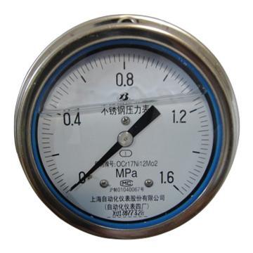 上仪 耐震压力表Y-103BFZ,304不锈钢+304不锈钢,轴向前带边,Φ100,0~1.0MPa,M20*1.5,硅油