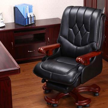 纽麦真皮老板椅可躺高档电脑椅 ,黑色头层牛皮,带搁脚