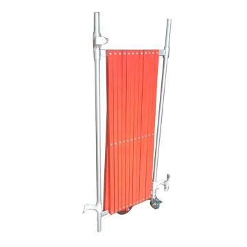 迈邦 伸缩隔离栏 铁边柱铝网格 高1000mm长度范围400-4000mm 自带滚轮 F1A,红色
