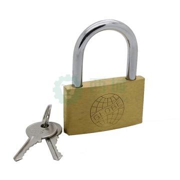 黄铜挂锁,通开型,锁体宽度50mm,锁体高度30mm,锁梁内高30mm,锁梁直径6mm,总高66mm