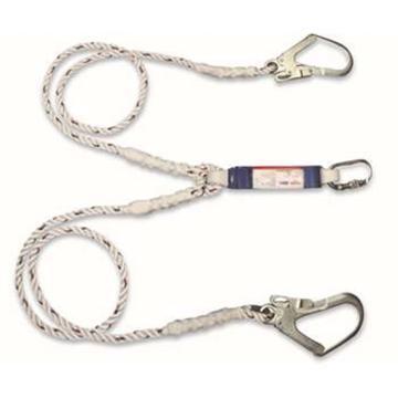 连接绳,PROTECTA双腿缓冲连接绳,单腿长度1.2米,配2个大挂钩和1个螺纹锁紧安全钩,1390019