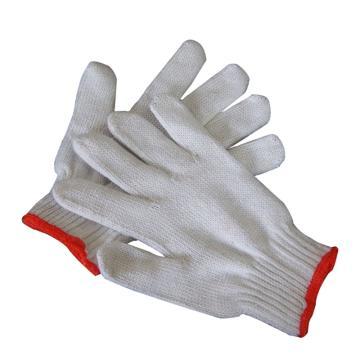 西域推荐 纱线手套,600g10针细纱红边手套,12副/打